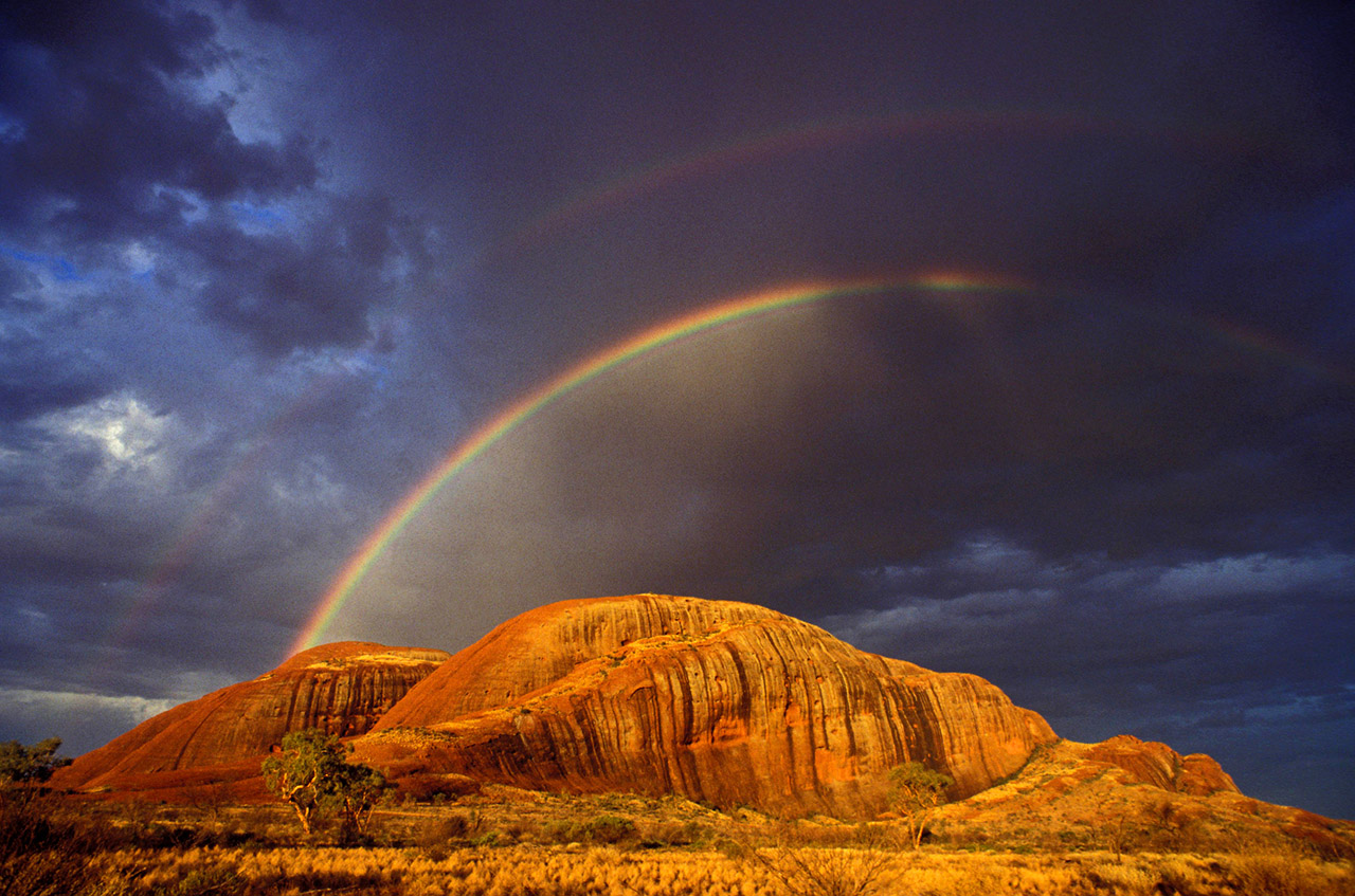 A rare Rainbow over the Olgas, Kata Tjuta, Uluru-Kata Tjuta National Park, NT, Australia ©2017