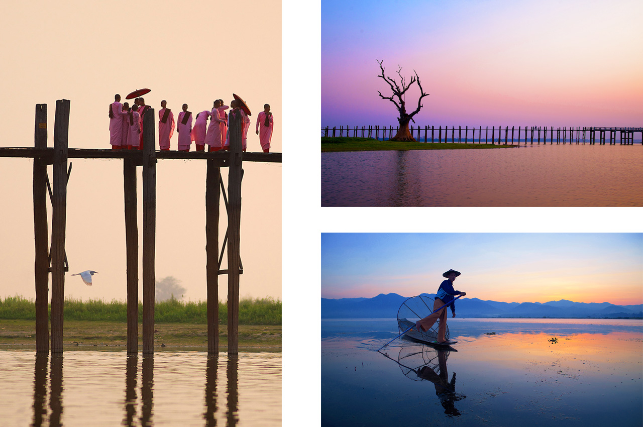 U Bein Bridge, Mandalay and traditional fisherman on <br>Inle Lake, Myanmar-Burma ©2017